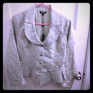 NWT Samuel Dong lined,cropped, silver/green jacket